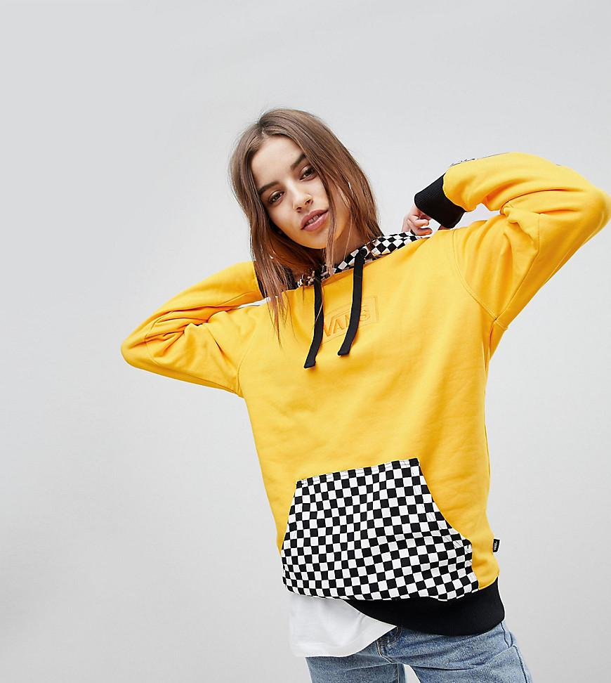 f962d7805b5 Vans Exclusive Hoodie With Checker Board Hood in Yellow - Lyst