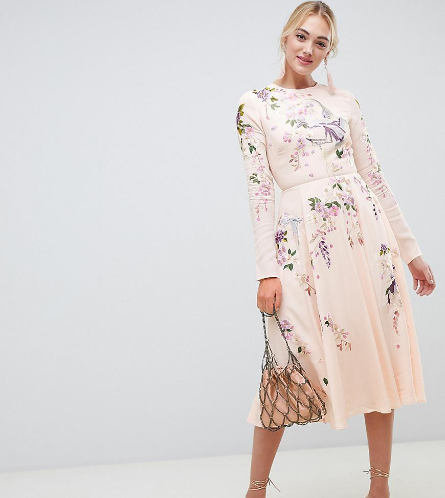 31a5cb0ff6 Lyst - ASOS Asos Design Tall Midi Dress With Pretty Floral And Bird ...
