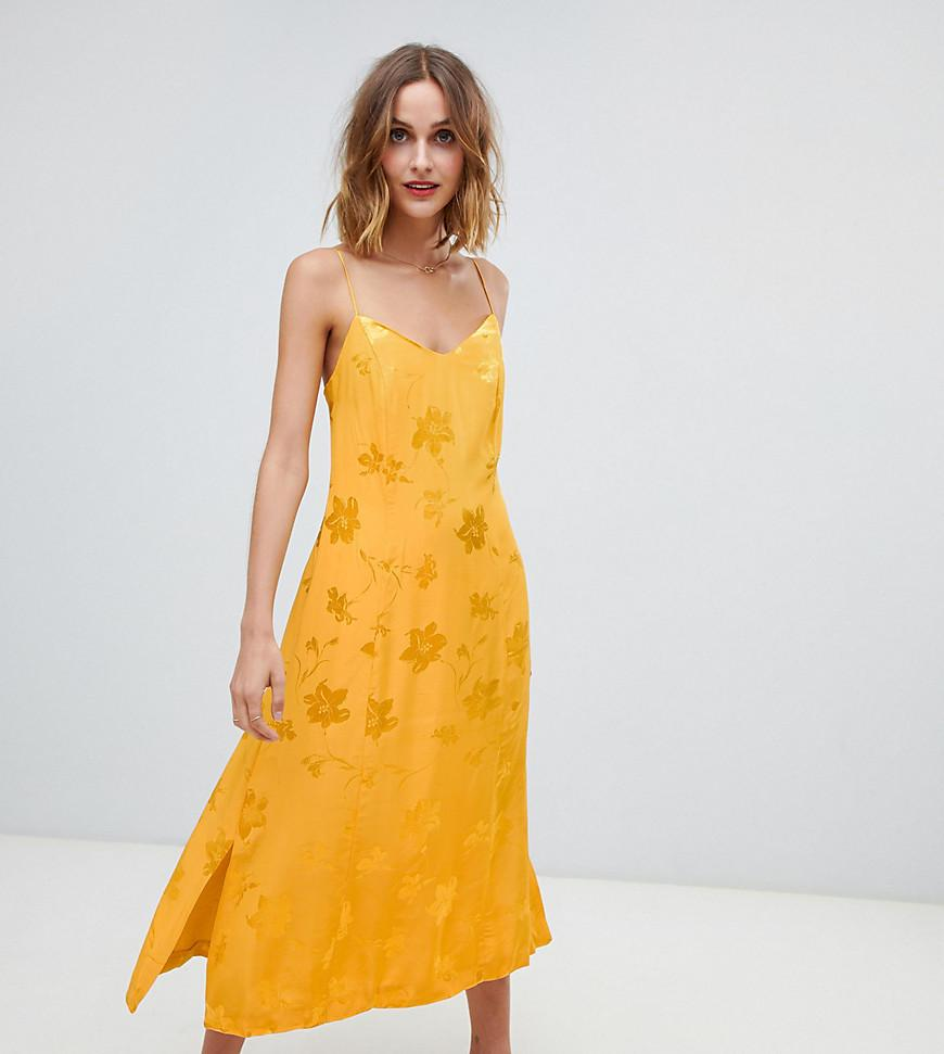 521f737ef037 Warehouse Strappy Midi Dress In Yellow Jacquard in Yellow - Lyst
