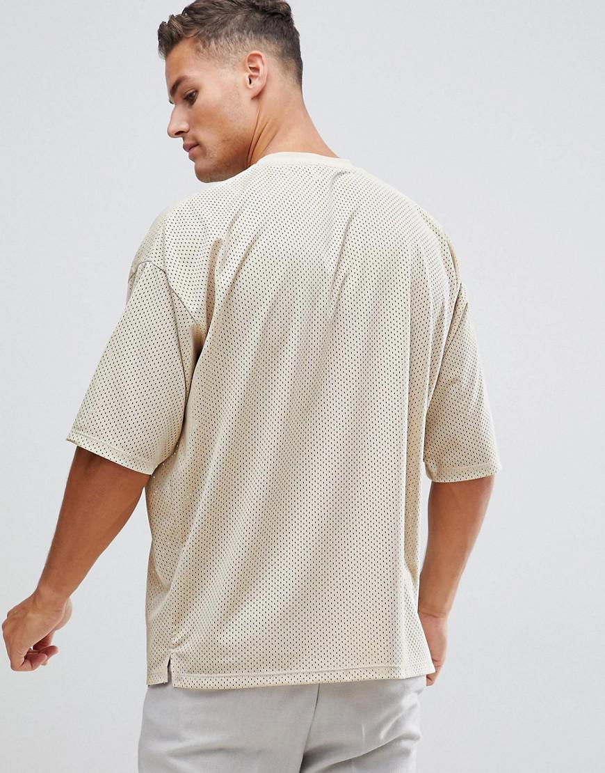 fa2eb29b ASOS Oversized T-shirt With Half Sleeve In Mesh In Beige in Natural for Men  - Lyst