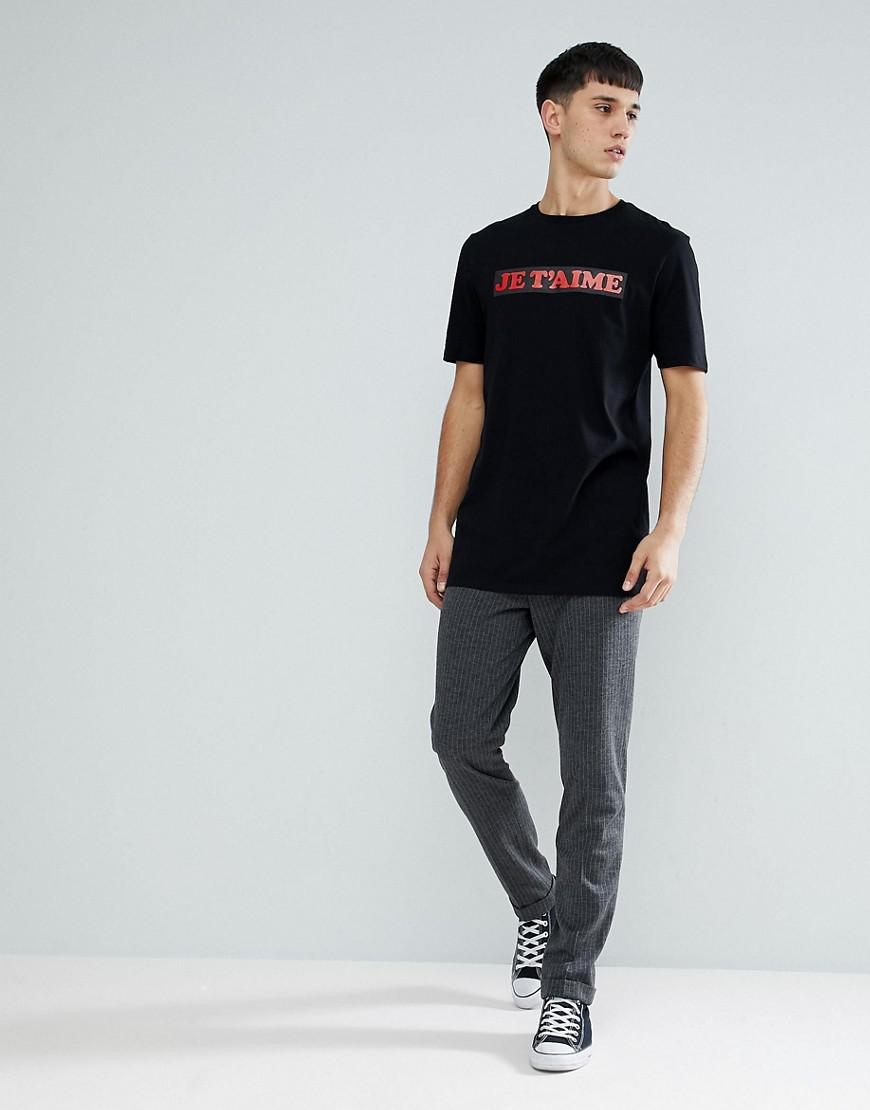e6342c99 Lyst - Asos Tall Longline T-shirt With Je T'aime Print in Black for Men