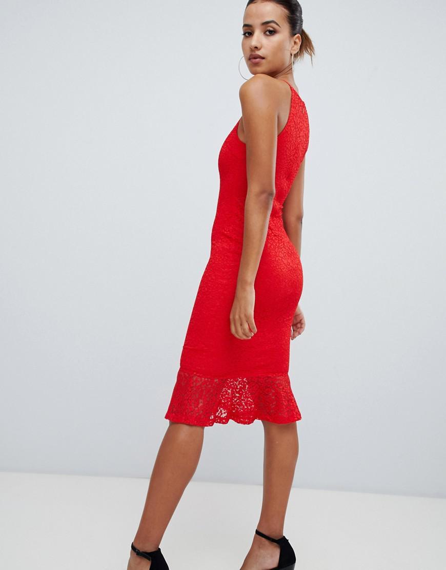 2a0d1aac45 AX Paris Sqaure Neck Midi Dress With Frill Hem in Red - Lyst