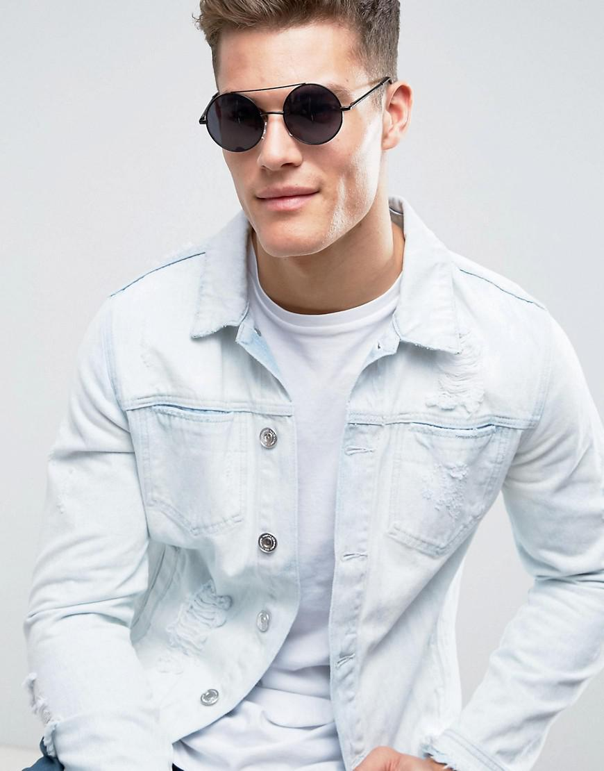 14e55ee56c Bershka Round Sunglasses With Double Brow In Black for men