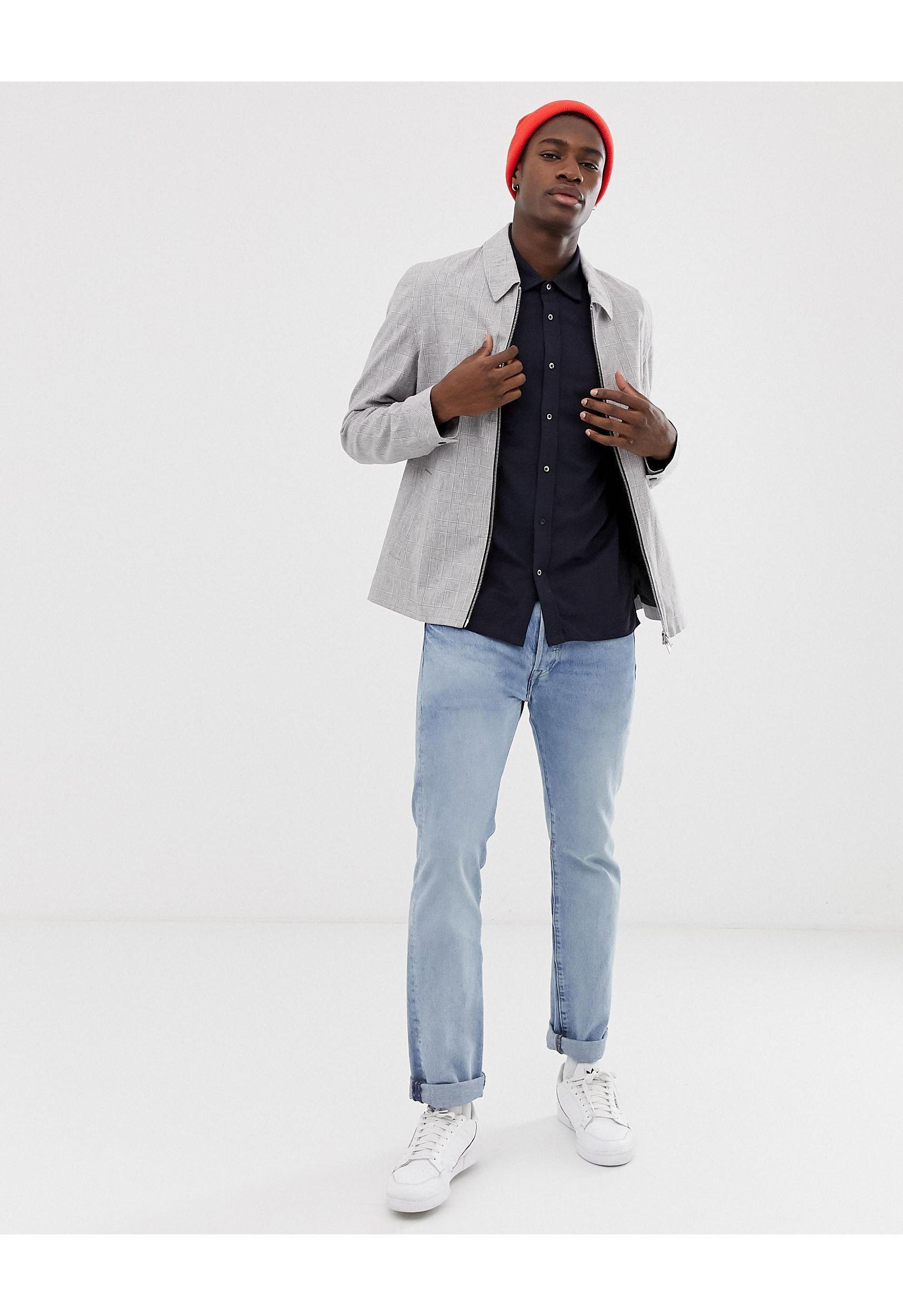 Jack & Jones Denim Premium - Piqué Overhemd Met Verlaagde Schouder En Korte Mouwen in het Blauw voor heren
