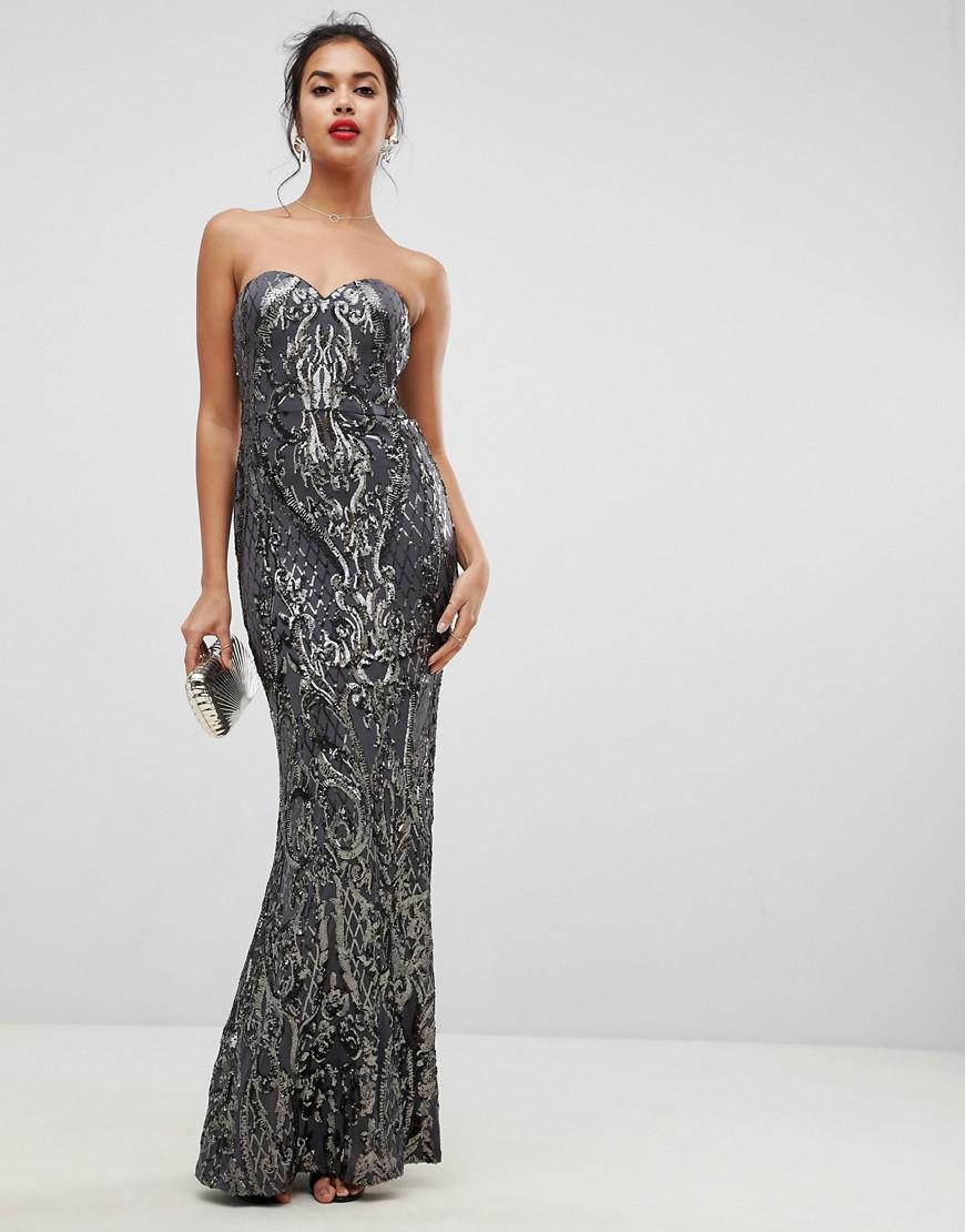 f89e9ae5f0731 Lyst - Bariano Embellished Patterned Sequin Sweetheart Bandeau Maxi ...