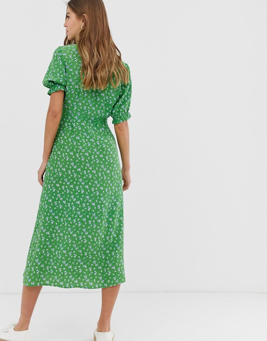 9b5a32d5b62a New Look Tie Front Midi Dress In Green Ditsy Floral Print in Green - Lyst