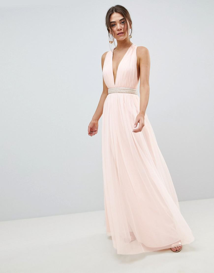a39da7e6b4 ASOS Tulle Maxi Dress With Embellished Waist in Pink - Lyst