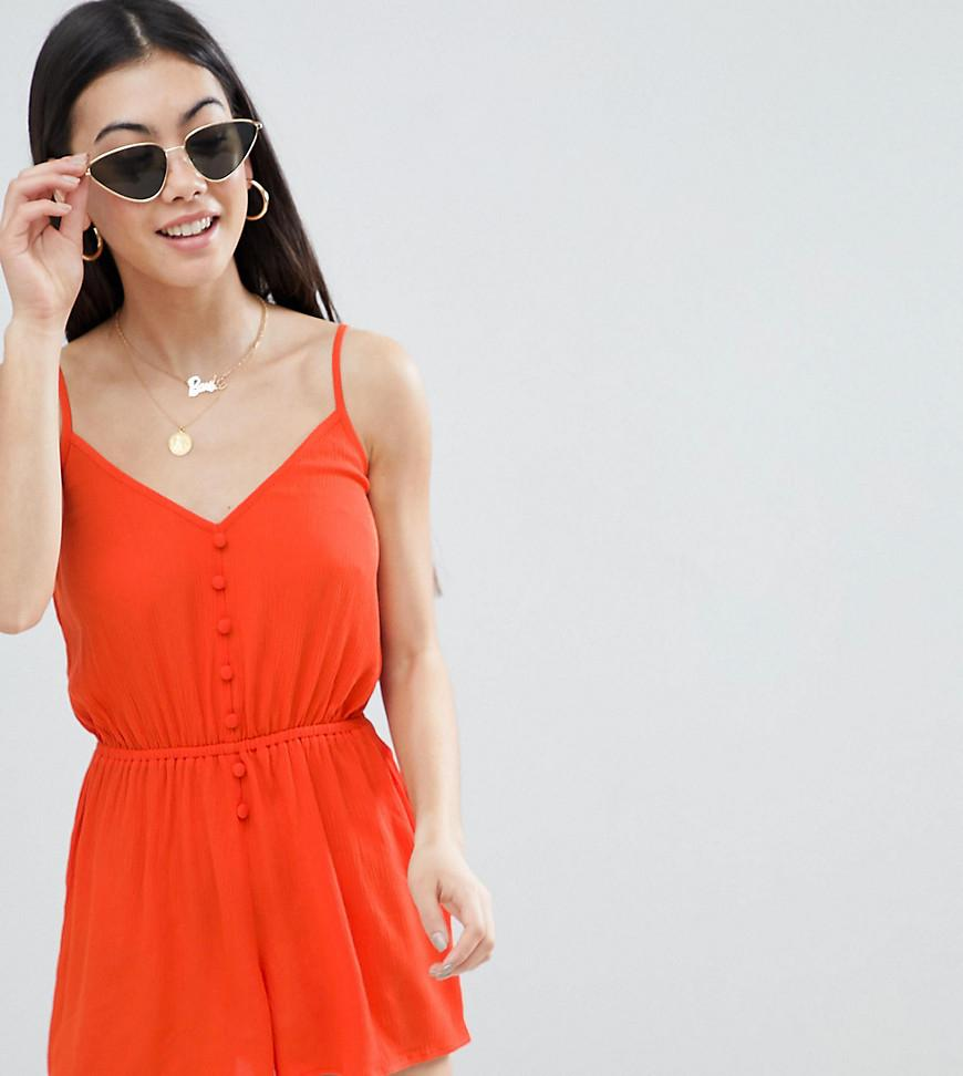97ed8199c71 ASOS. Women s Red Asos Design Petite Playsuit In Crinkle With Button Front