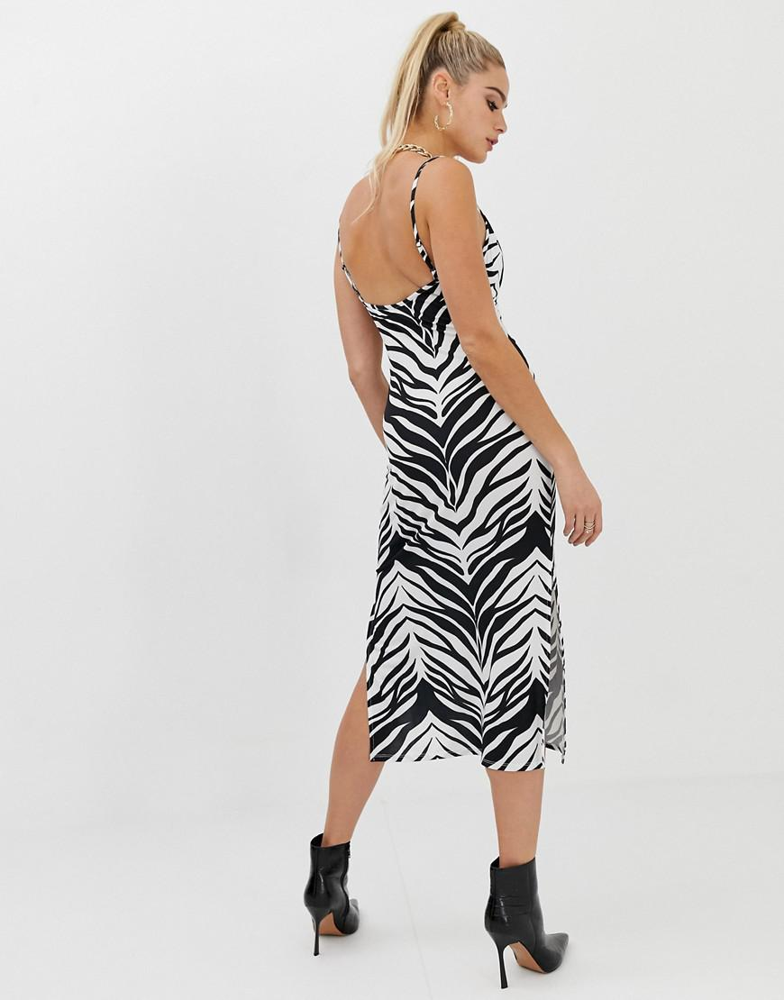 4163d85ed082 Lyst - ASOS Asos Design Tall Cowl Front Midi Slip Dress In Tiger Print