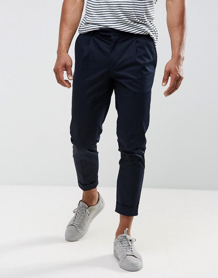 Jack & Jones. Men's Blue Premium Slim Smart Chino With Turn Up