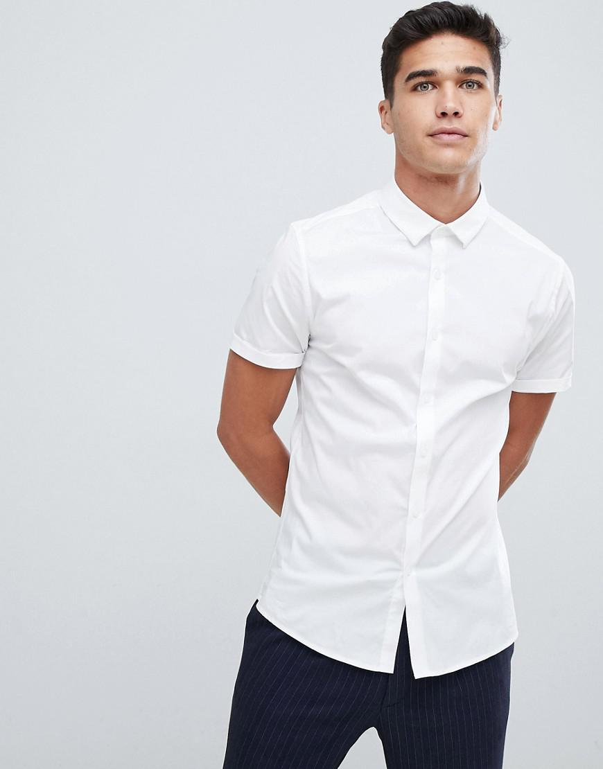 535260aa7bd3 Lyst - ASOS Skinny Shirt In White With Short Sleeves in White for Men