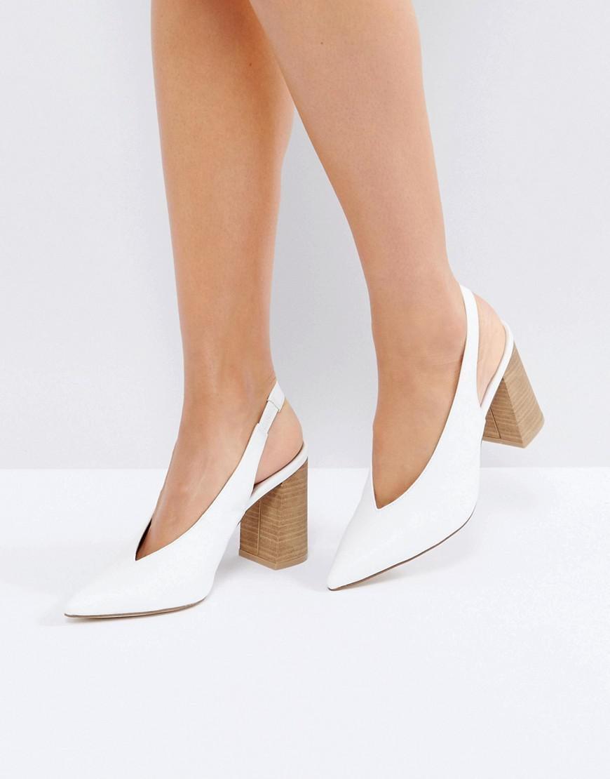 New Look Slingback Block Heel in White