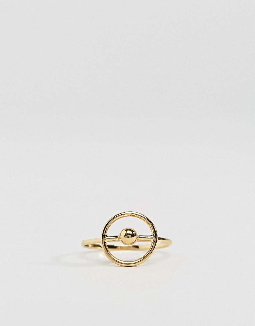 ASOS Denim Gold Plated Sterling Silver Sphere Surround Ring in Metallic