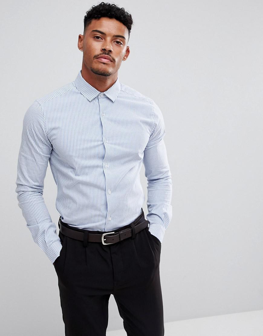 ASOS. Men's White Smart Stretch Slim Poplin Stripe Shirt ...