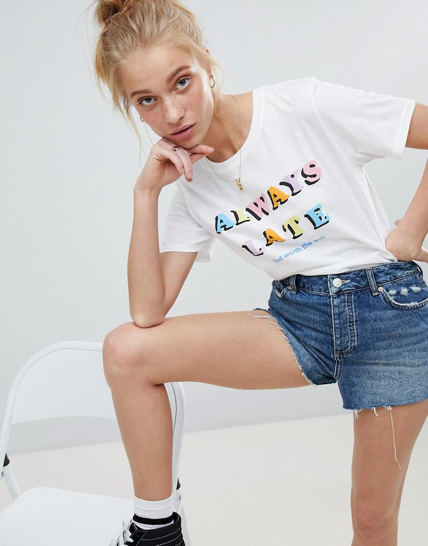 t-shirt with always late print - White Adolescent Clothing Reliable For Sale Cheap Price Store Limited Sale Best Seller OC1zQ