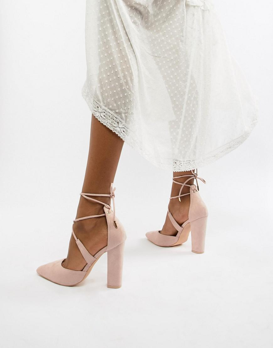 05ddcd3985a Glamorous Block Heel Tie Up Court in Natural - Lyst