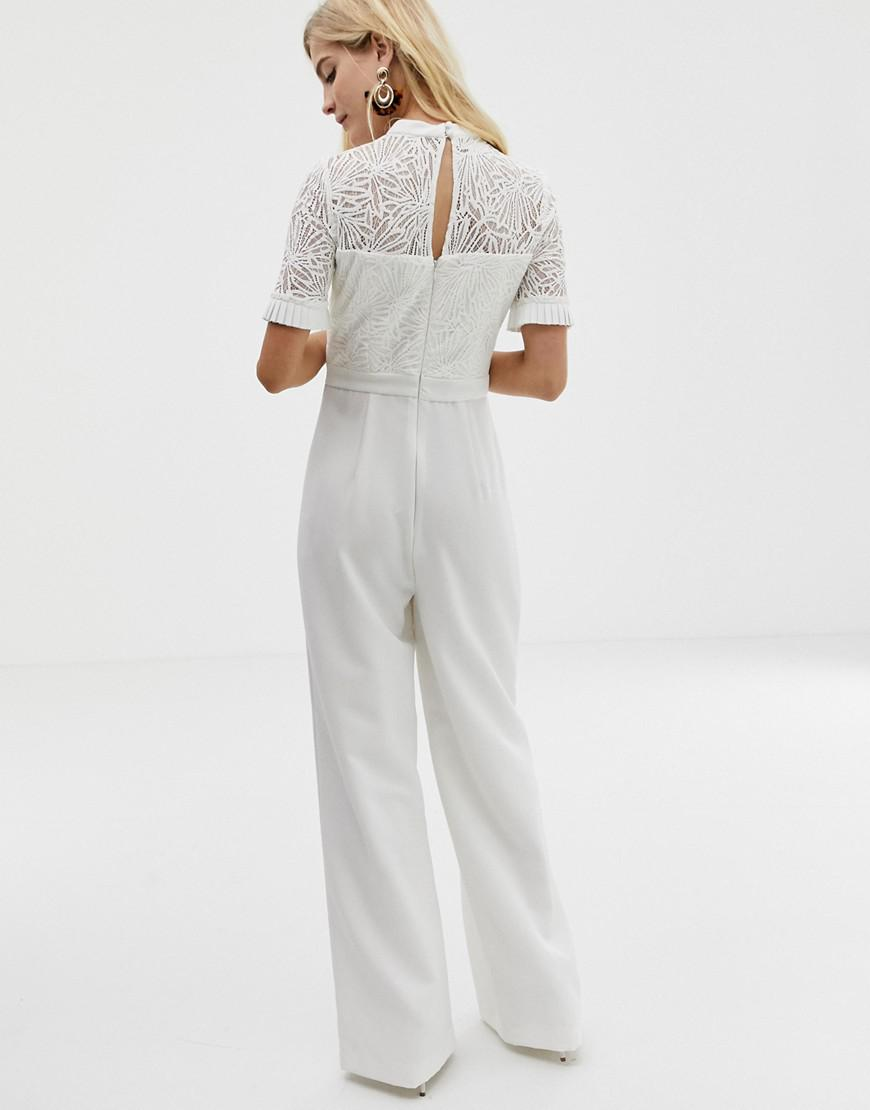 68378666bcc2 Forever New Embroidered Top Jumpsuit With Wide Leg In White in White - Lyst