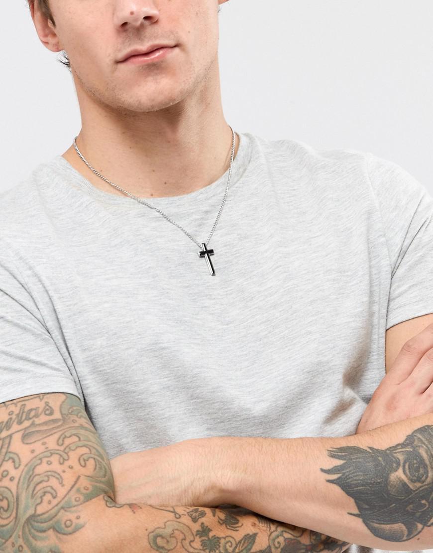 Fred Bennett Silver Cross Necklace in Metallic for Men