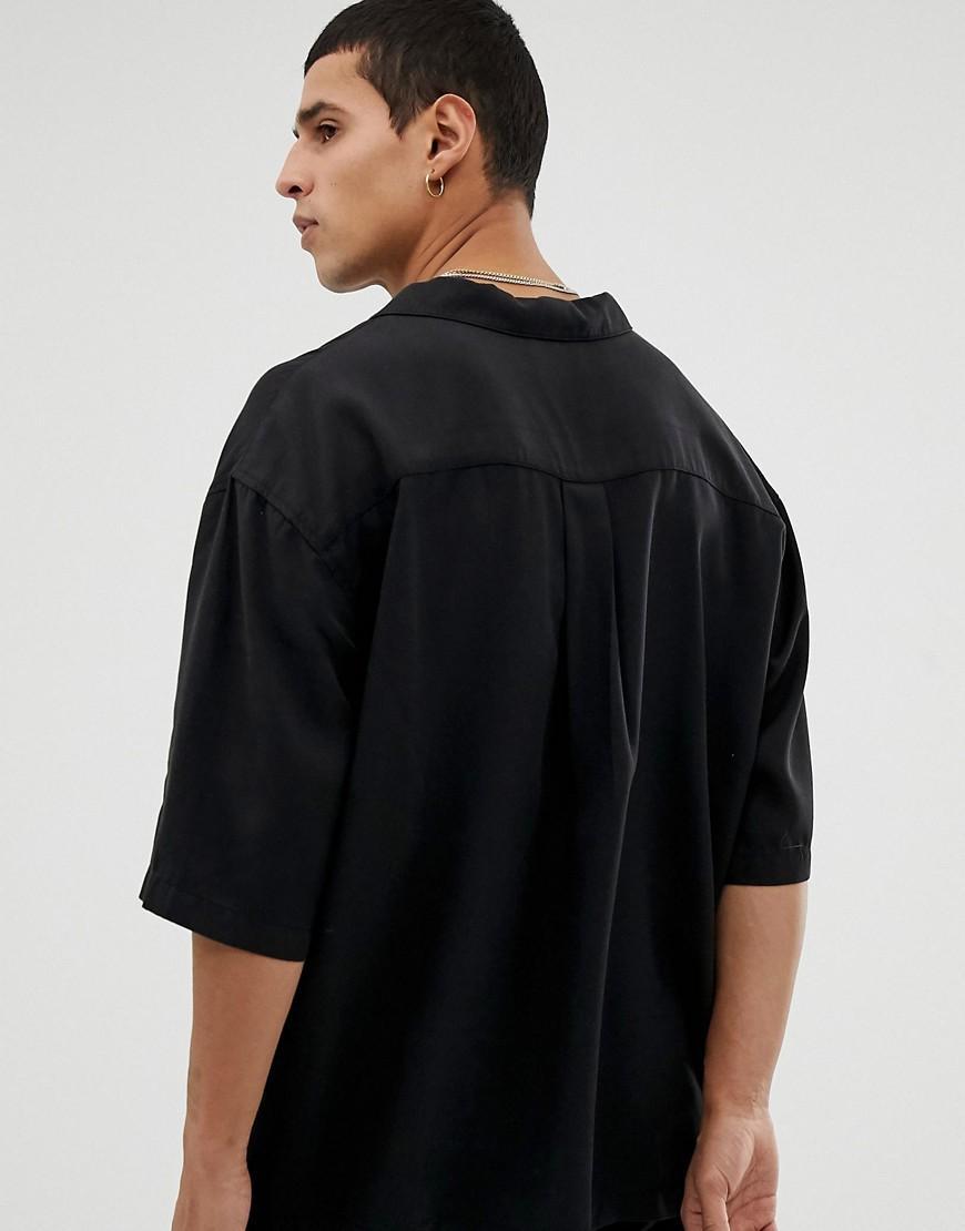 Tiger Of Sweden Denim Oversized Overhemd Met Revers En Korte Mouwen in het Zwart voor heren