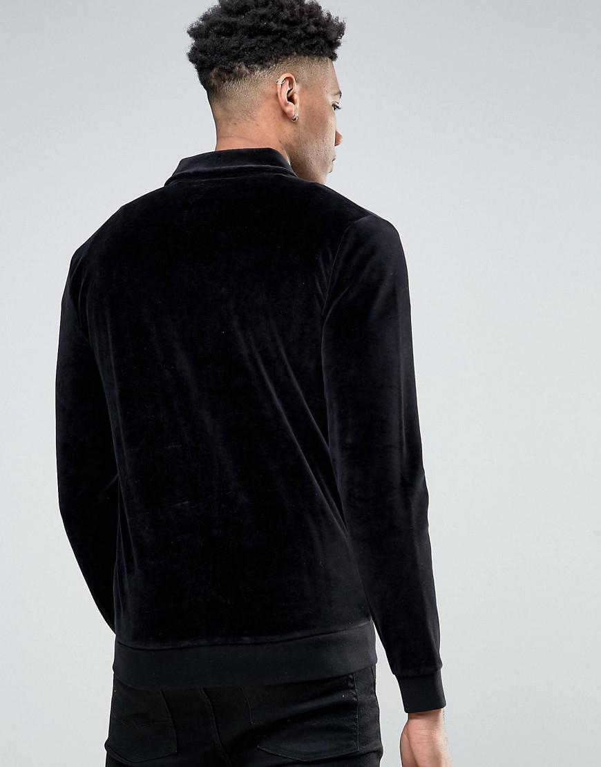 ASOS Cotton Asos Tall Jersey Harrington Jacket In Velour in Black for Men