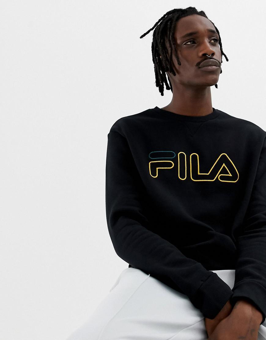 b9ecb747ee5 Lyst - Fila Black Line Basil Sweatshirt With Logo In Black in Black ...