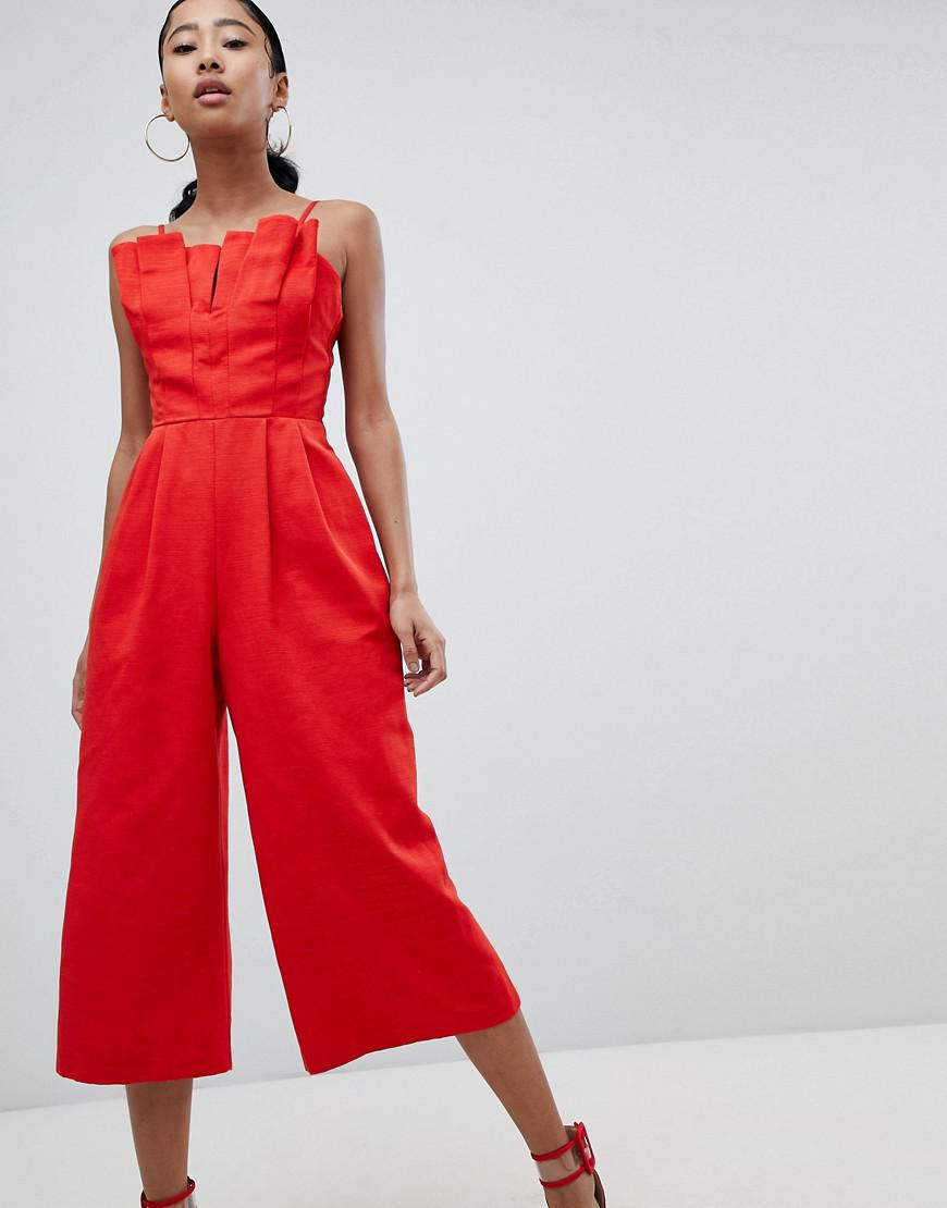 f685435bf971 Asos Design Structured Jumpsuit With Culotte Leg And Pleated Bodice ...