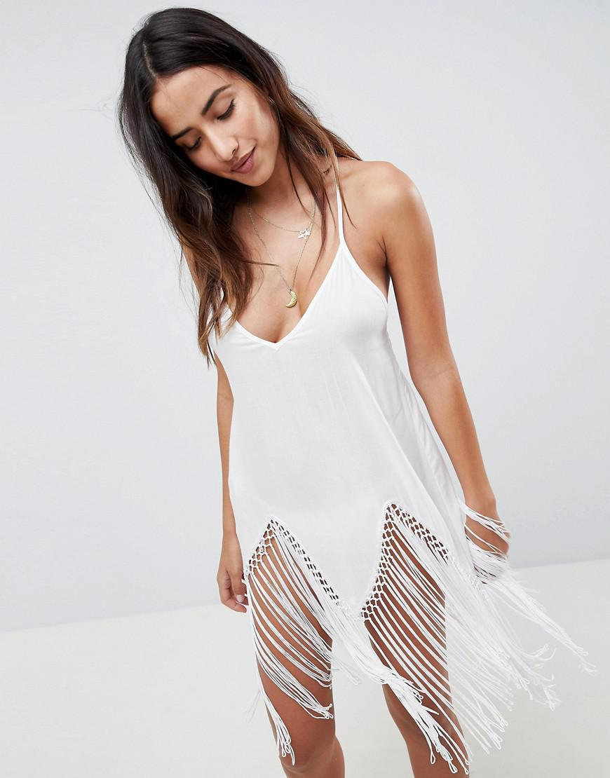 f7169de4fa5e Lyst - ASOS Macrame Fringe Beach Cover Up in White