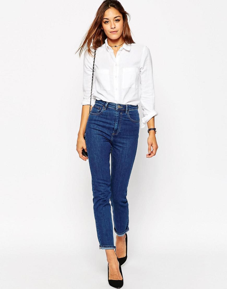 ASOS Denim Farleigh High Waist Slim Mom Jeans In Juniper Wash in Blue