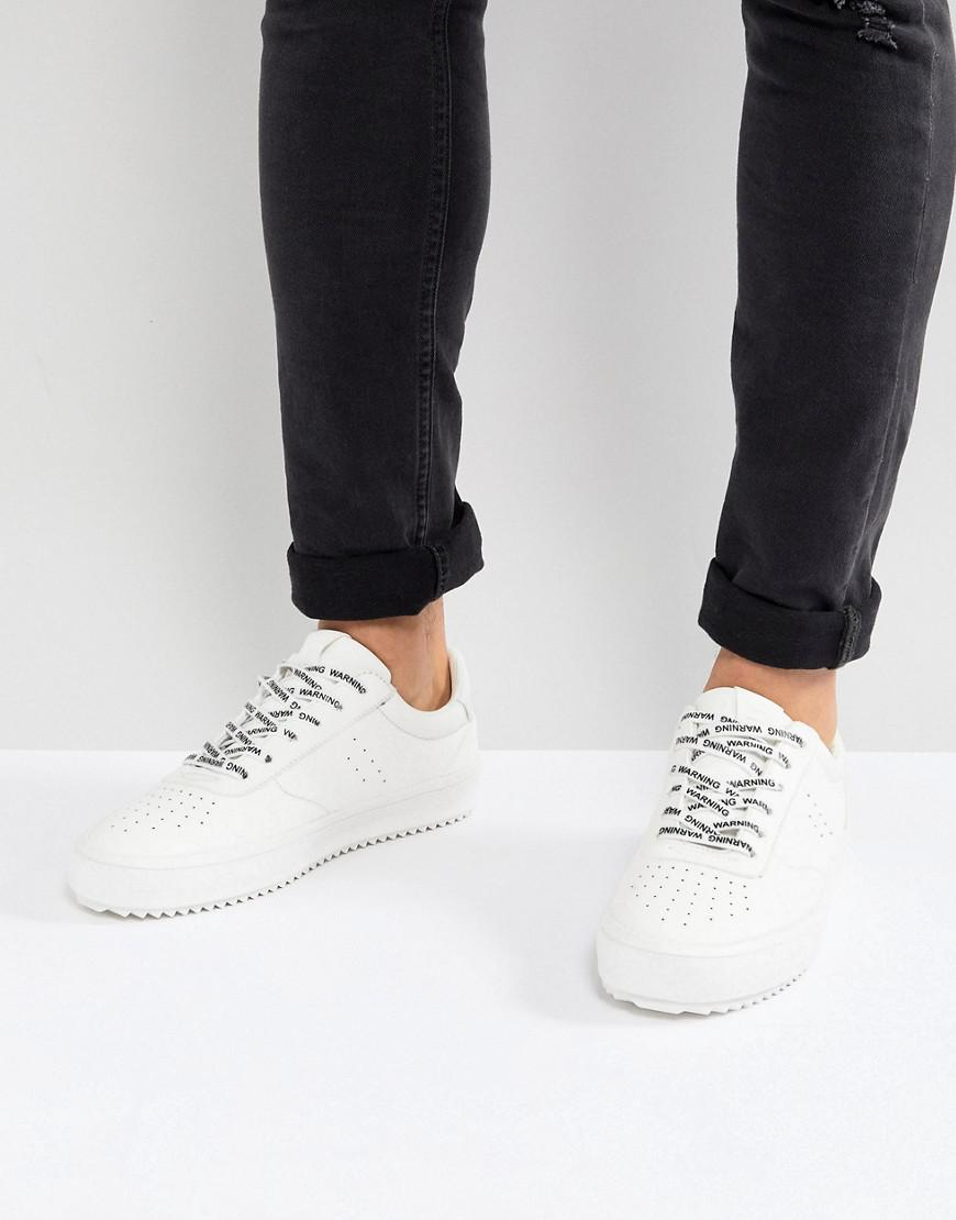 free shipping official various colors Bershka Denim Trainer With Warning Laces In White for Men - Lyst