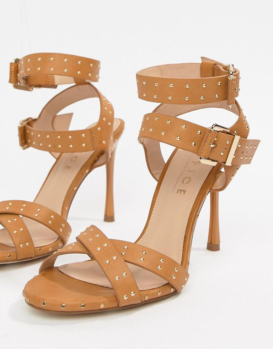 83bb4bdde0f Office Hardcore Studded Camel Strappy Heeled Sandals in Natural - Lyst