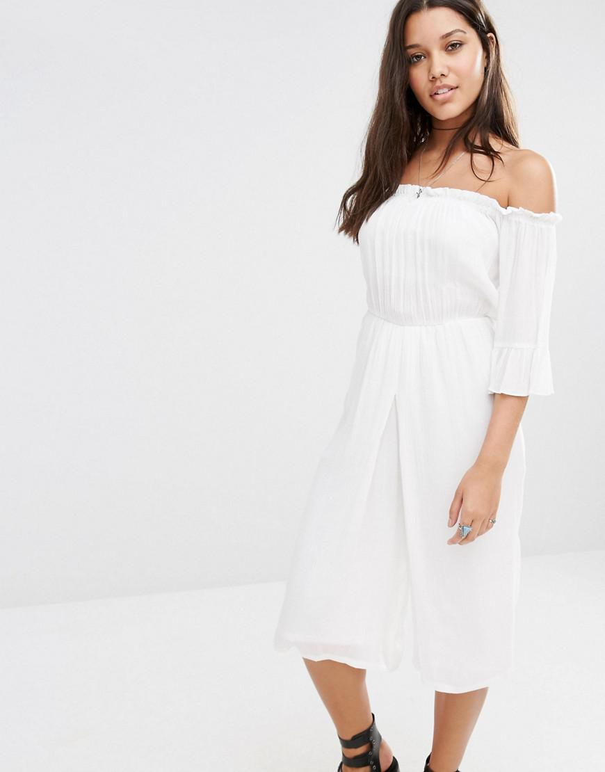 c33e75551df Lyst - Missguided Bardot Cheesecloth Culotte Jumpsuit in White