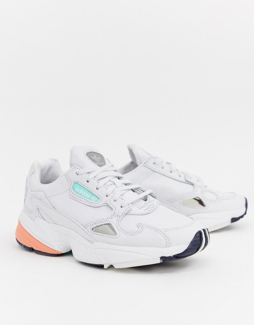 Adidas Originals Falcon Premium Leather Trainers In White In White