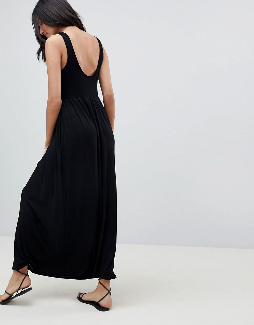 ASOS DESIGN Tall mixed fabric strappy maxi dress - Black Asos Tall PaxnM