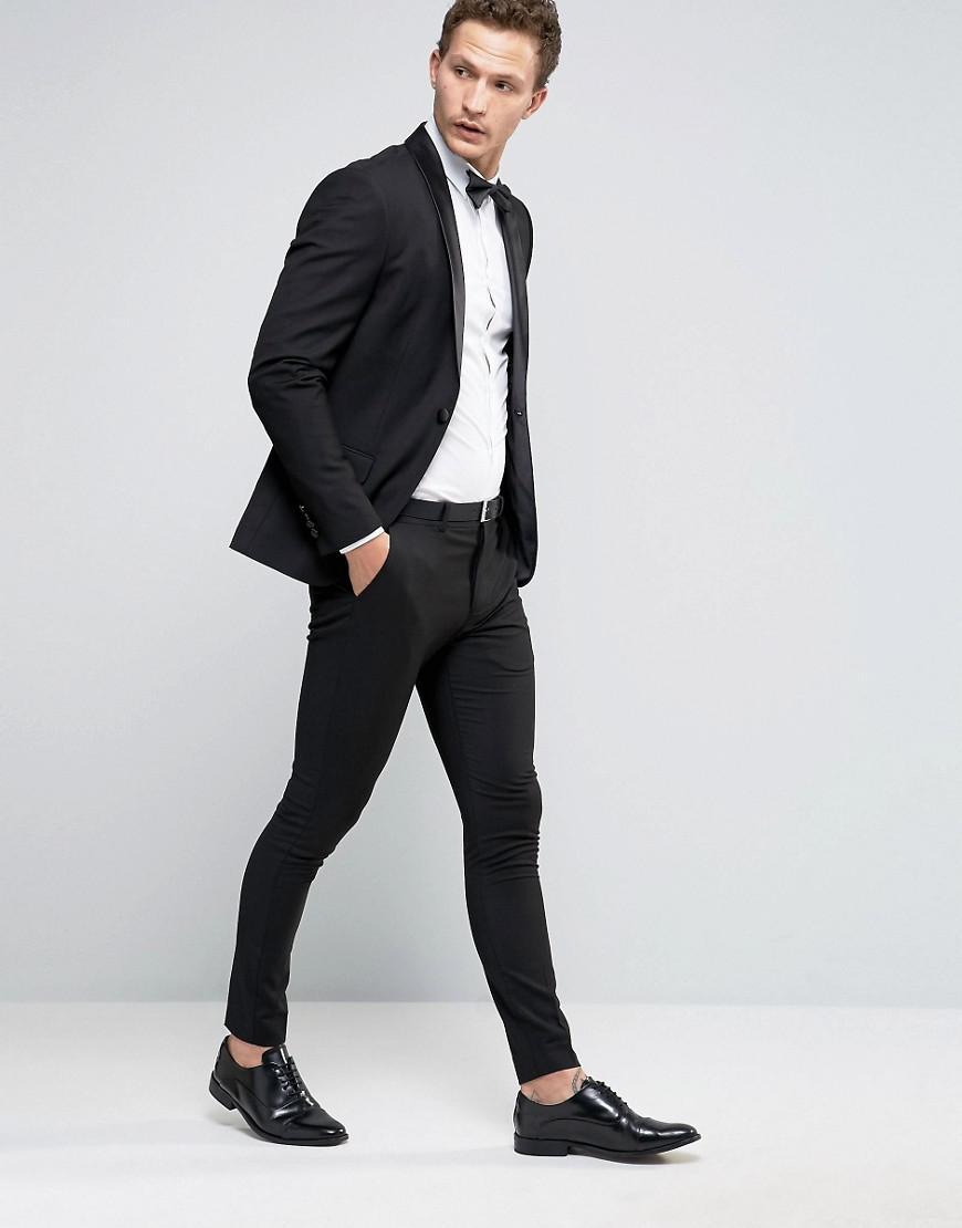 Selected Super Skinny Tuxedo Suit Trousers in Black for Men | Lyst