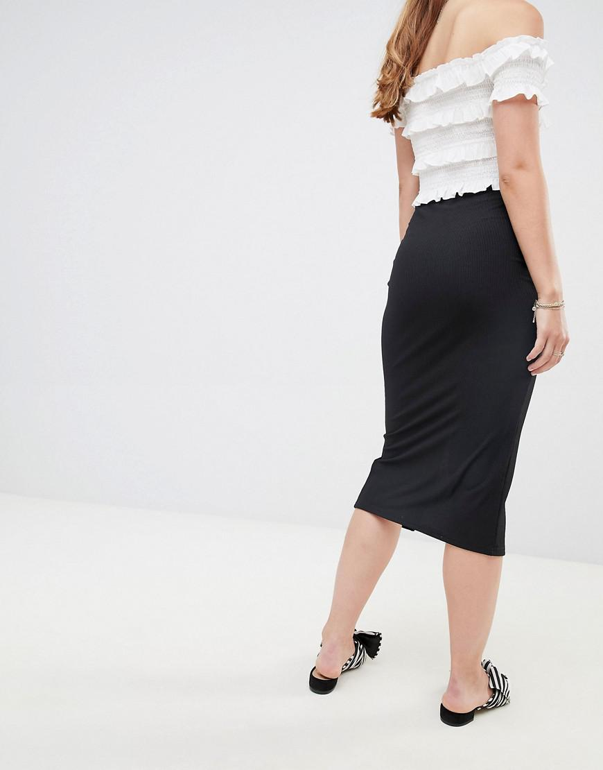 5f3892cd0 Lyst - Miss Selfridge Midi Skirt With Split Front In Black in Black