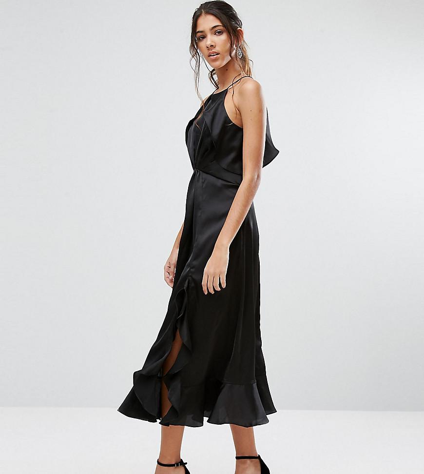 8b61d4c9b3a2 Lyst - Jarlo High Neck Ruffle Detail Cami Midi Dress in Black