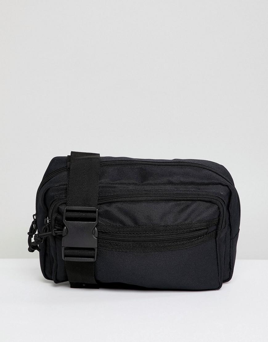 569ad0f49182 Lyst - ASOS Oversized Cross Body Bum Bag In Black Texture With Chunky Zip  in Black for Men