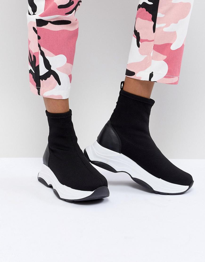 ASOS Denim Drill Sock Sneakers in Black