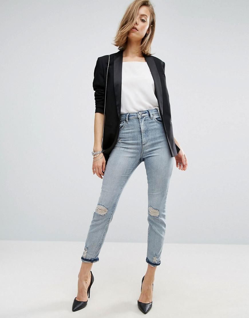 ASOS Denim Farleigh High Waist Slim Mom Jeans In Annabelle Light Stonewash With Busted Knees in Blue