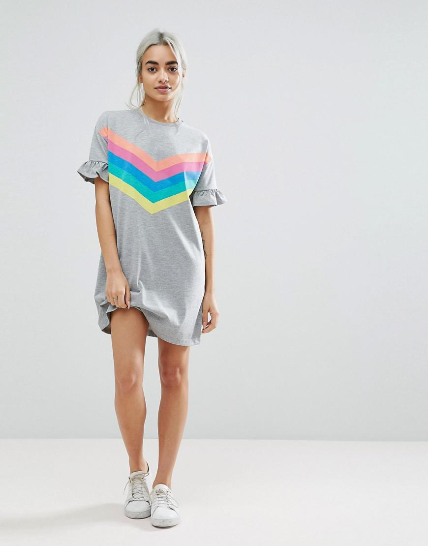 d95abd215ef ASOS T-shirt Dress With Frill Cuffs And Rainbow Stripes in Gray - Lyst