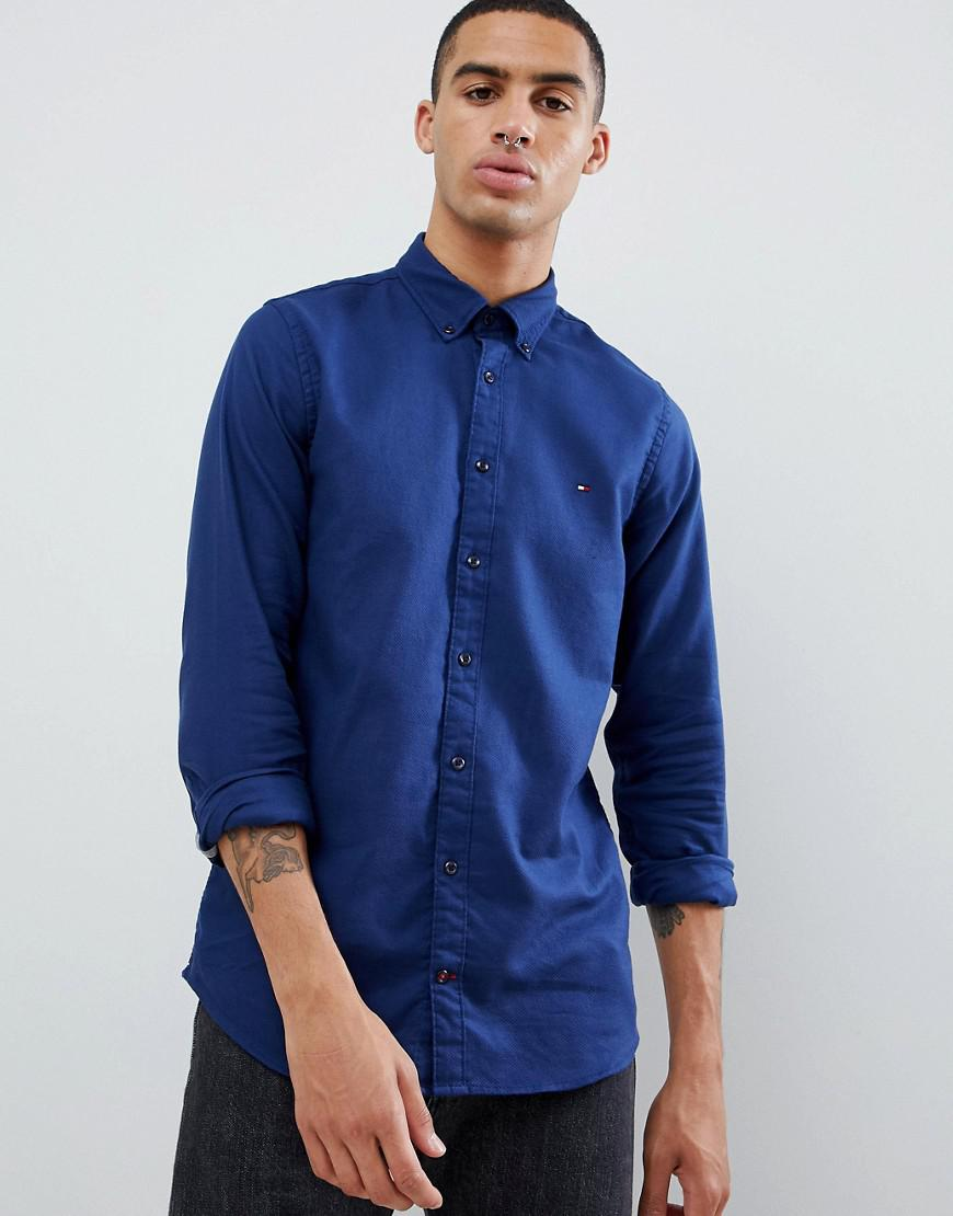 38f5f06cf Tommy Hilfiger - Textured Dobby Slim Fit Shirt Flag Logo Buttondown In Dark  Blue for Men. View fullscreen