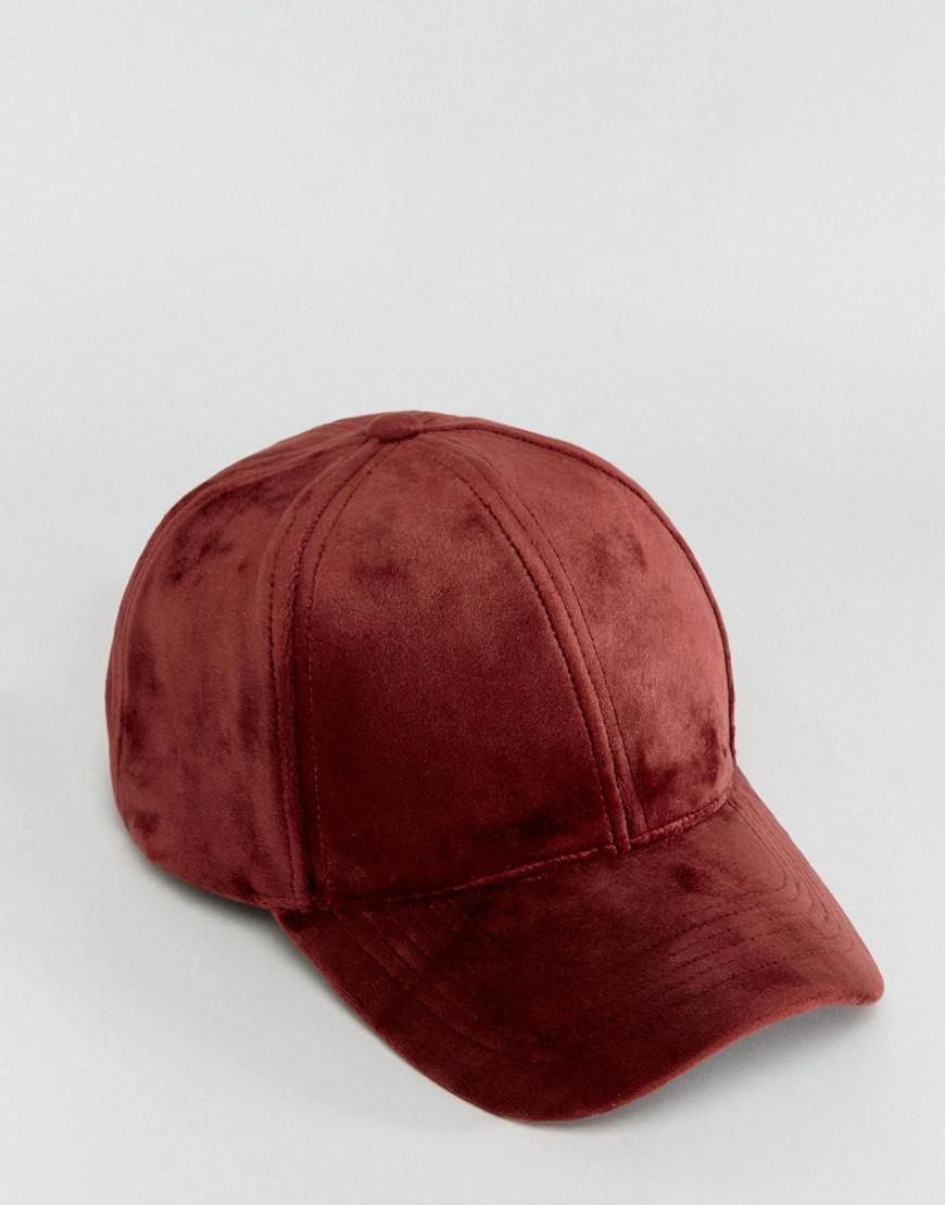 Baseball Cap In Supersoft Burgundy Velour - Burgundy Asos m1NMCBzAyn