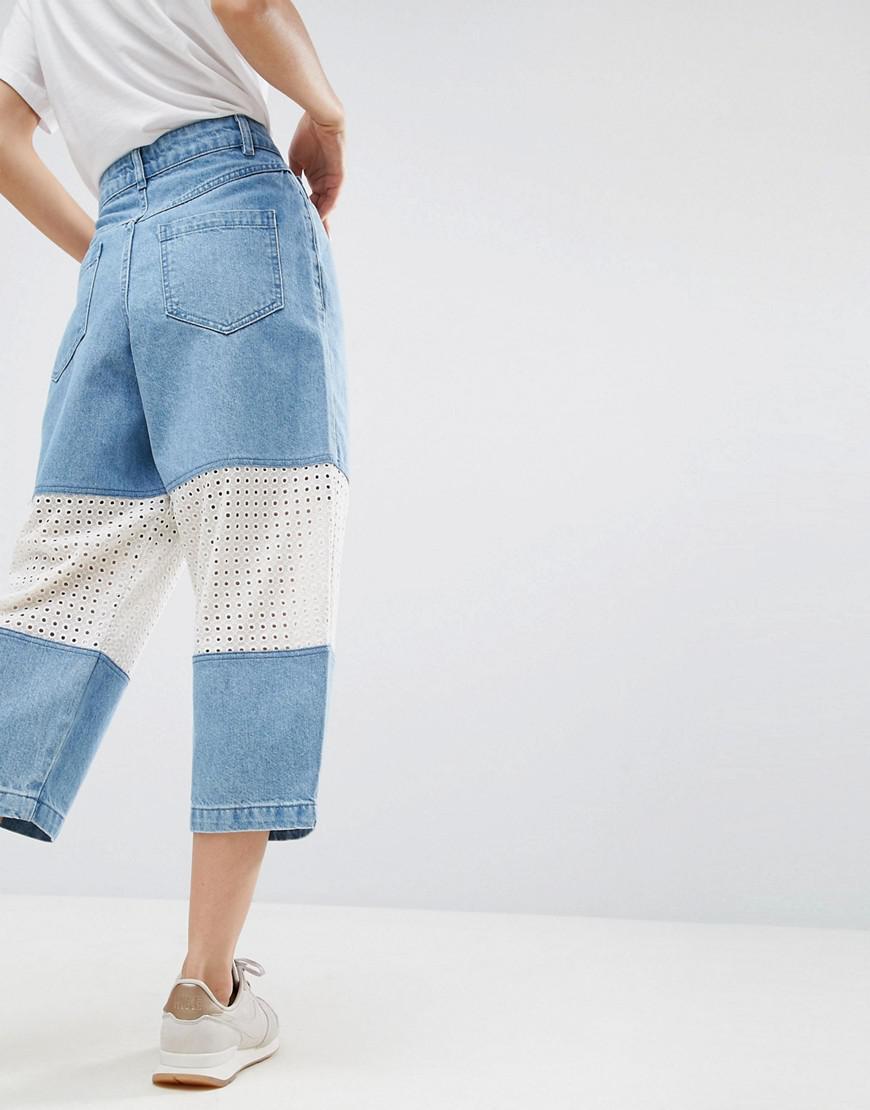 ASOS Denim Broderie Insert Jeans In Lightblue Wash