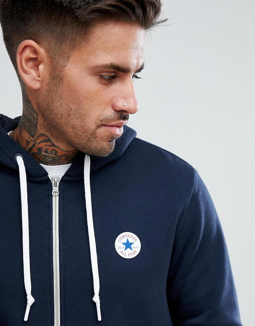 e44bc9ea8a99 Lyst - Converse Chuck Patch Zip Hoodie In Navy 10004627-a01 in Blue ...