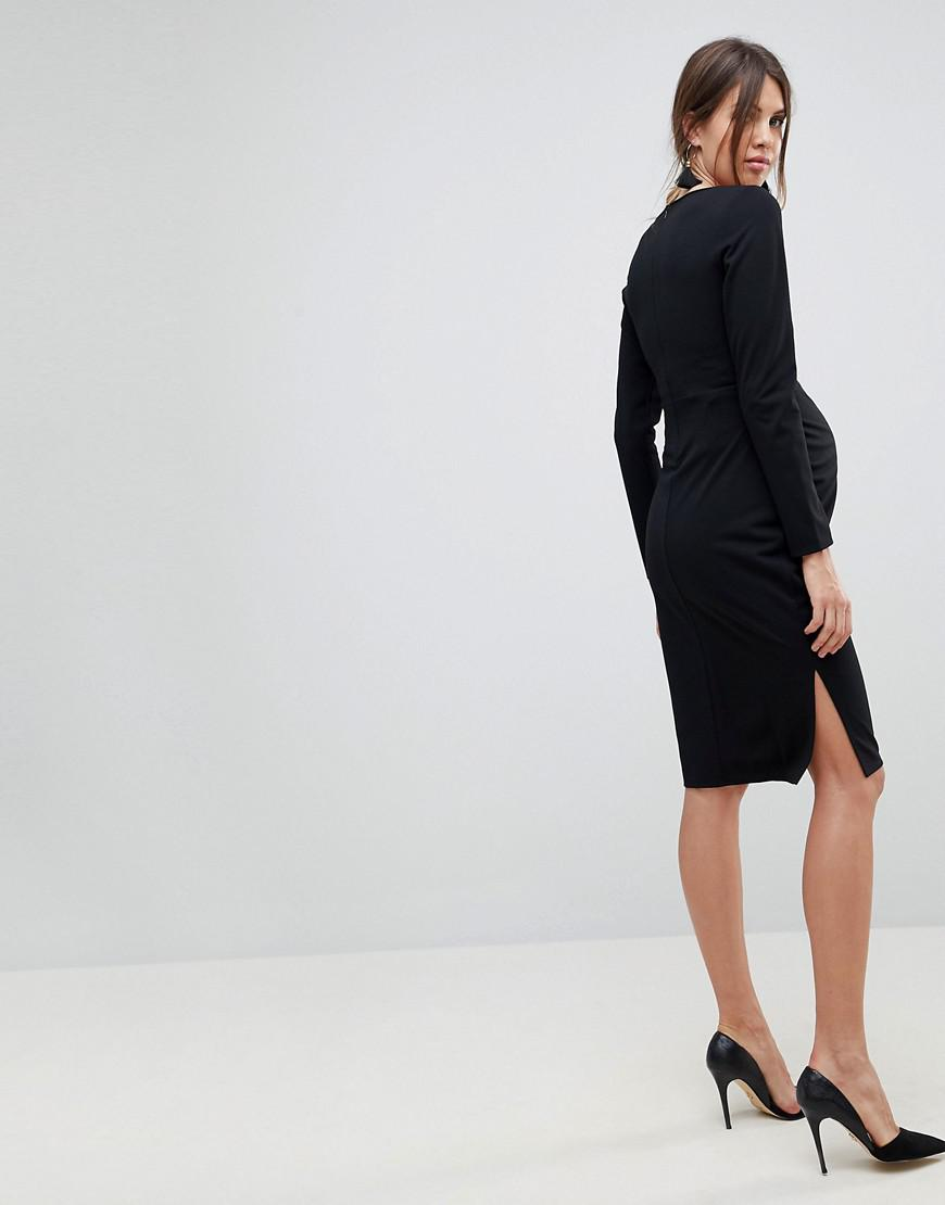 f726e2b47a Lyst - ASOS Midi V Neck Pencil Dress With Long Sleeves in Black