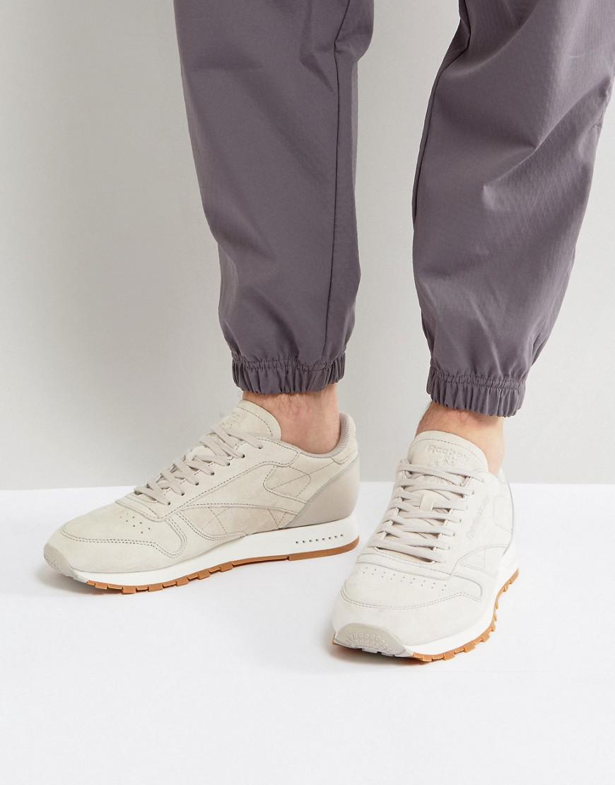 reebok classic beige leather trainers