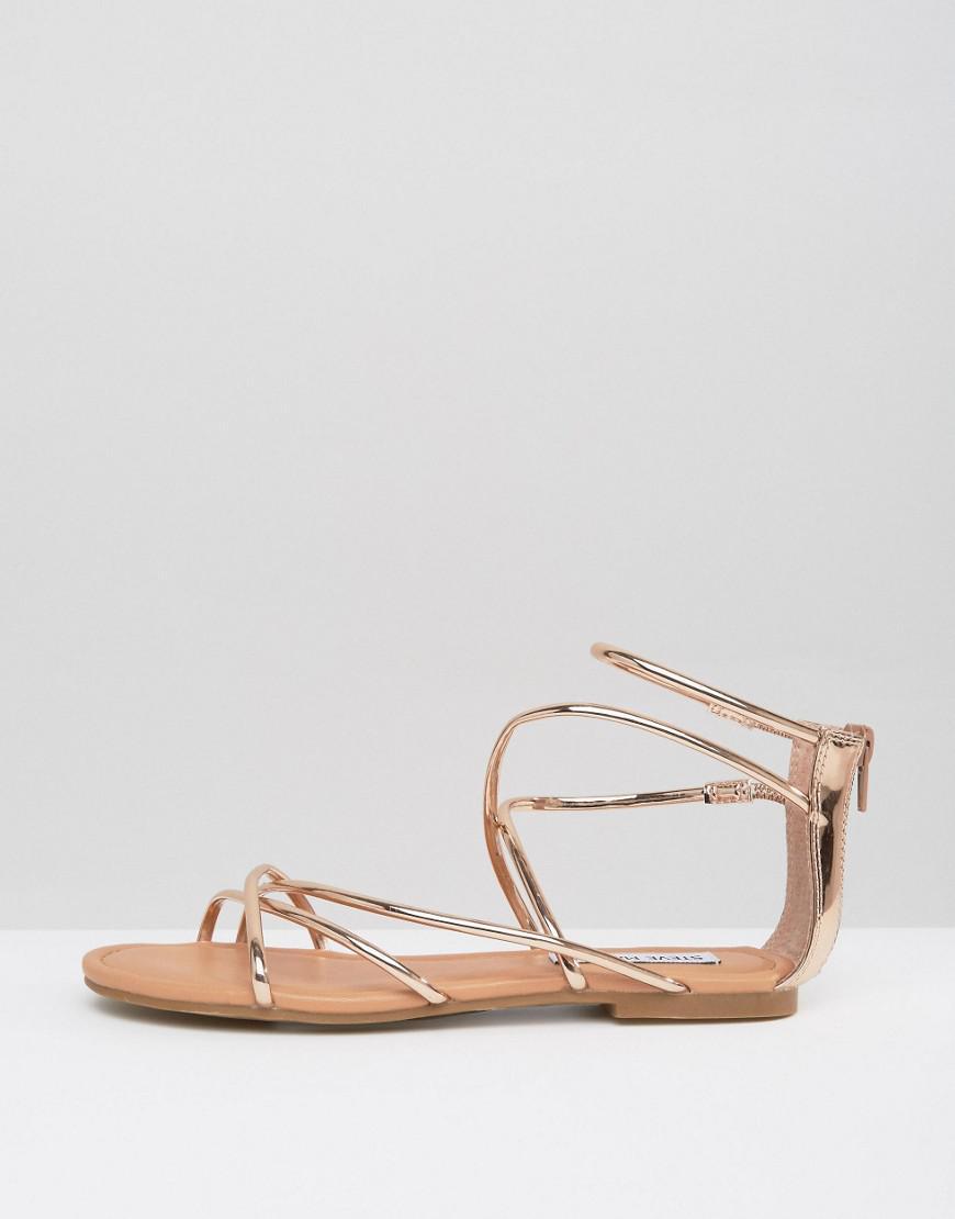 Steve Madden Chains Rose Gold Slides Sandals Women Blush Pink