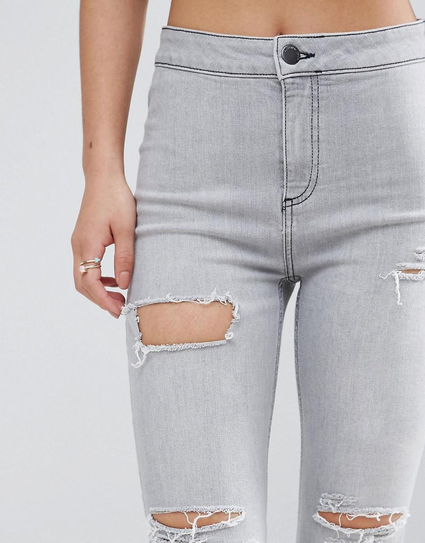 New Look Denim Washed Busted Knee Skinny Jeans in Grey (Grey)