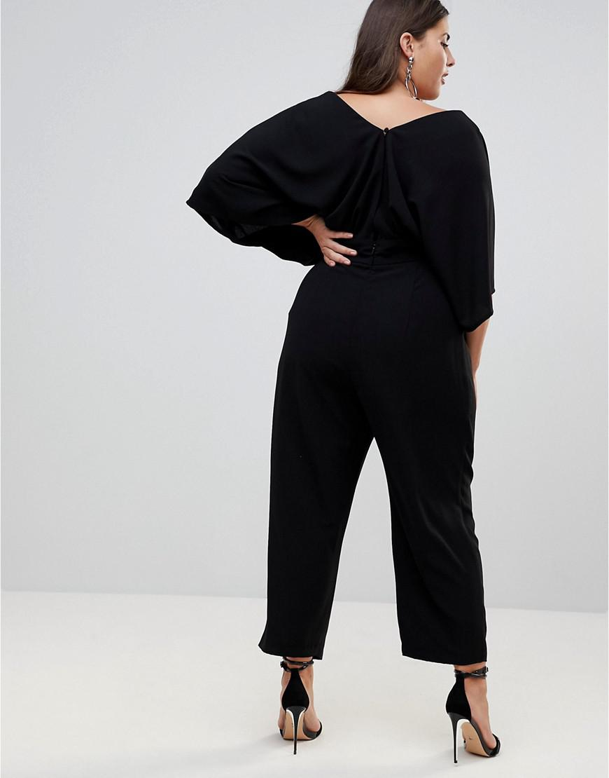 ebb209954583 Lyst - ASOS Asos Design Curve Jumpsuit With Kimono Sleeve And Peg Leg in  Black