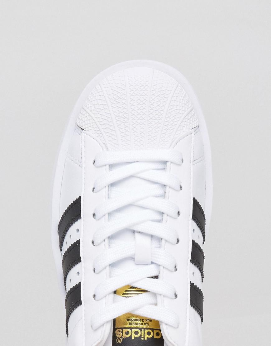 adidas originals bold double sole black and white superstar sneakers